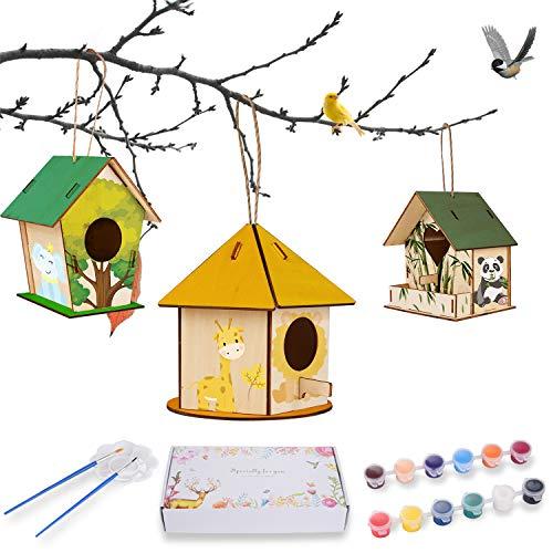 Ulikey Kit de Casa de Pájaros de Bricolaje, 3pcs Casa Pájaros Pintar de Madera Bricolaje, Casa de Pájaros Madera Manualidades Casa de Pájaros con Herramientas de Pintar Kit para Niños
