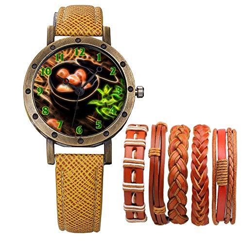 Meisjes Merk Retro Brons Vintage Lederen Band Dames Meisje Quartz Horloge Armband 6 Sets Abstract Bloemen 152.Eieren, Voedsel, Mooi, Delights, Haybox