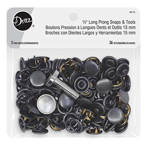 Dritz 15,8 cm de largo y broches de herramientas, 5/8 pulgadas, 36 juegos, negro