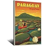 Vintage-Reise-Poster Paraguay, Leinwand-Kunstdruck, Bild,