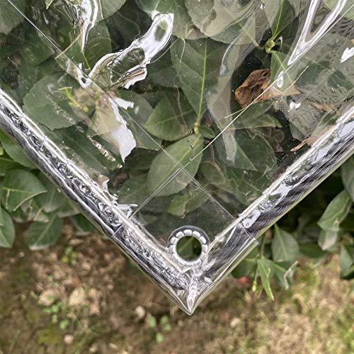 AMSXNOO Lona Transparente Impermeable, Marquesinas PVC 0,3mm con Ojales, Lona Impermeable Prueba Roturas Protección contra Viento para Jardines, Invernaderos, Plantas, Patios, Pabellones