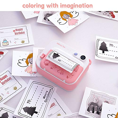 Dragon Touch InstantFun Instant Print Camera for Kids, Zero Ink Toy Camera with PrintPa   per, CartoonSticker, ColorPencils, Portable Digital Creative Print Camera for Boys and Girls - Pink