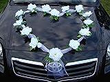 Autoschmuck Organza Herz Auto Schmuck Braut Paar Rose Deko Dekoration Hochzeit Car Auto Wedding Deko Girlande PKW (Weiß/Weiß)