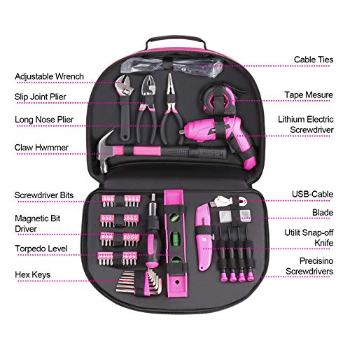 THINKWORK 122-Piece Pink Tool Kit with 3.6V Rotatable Electric Screwdriver-Ladies Home Work Kit, Very Suitable for Gifts, Perfect for DIY, Daily Home Decoration