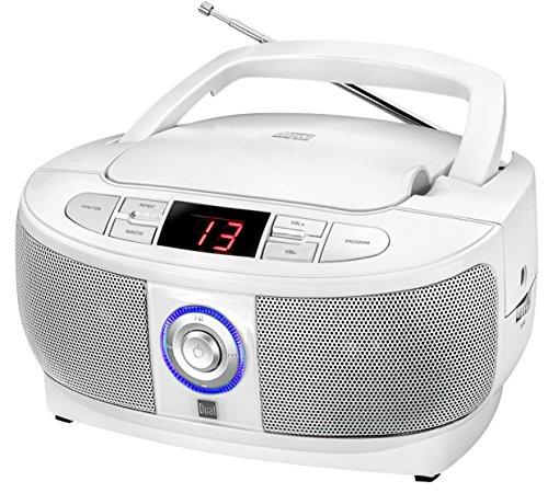 Dual P 49-1 Boombox mit CD-Player (UKW-Radio, LED-Display, Netz- oder Batteriebetrieb) weiß