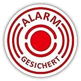 10er Aufkleber-Set Alarm-gesichert I hin_433 I Ø 2 cm I Achtung Gebäude, Objekt besitzt Alarmanlage I für Fenster-Scheibe, Tür I innenklebend