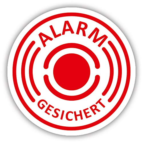 10er Aufkleber-Set Alarm-gesichert I hin_004 I Ø 2 cm I Achtung Gebäude, Objekt besitzt Alarmanlage I für Fenster-Scheibe, Tür I außenklebend wetterfest