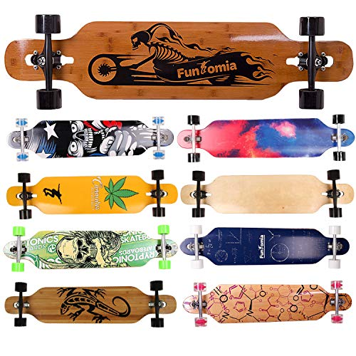 FunTomia Twin Tip Longboard Skateboard Drop Through Cruiser Komplettboard mit Mach1 High Speed Kugellager T-Tool