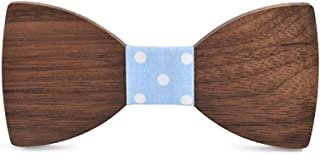VAXT Lead Men's Women's Wooden Wooden Bow Tie Wooden Christmas Gift Birthday Handkerchief Classical Shirt Bow Tie (Color : Light blue, Size : 5 * 9.5cm)