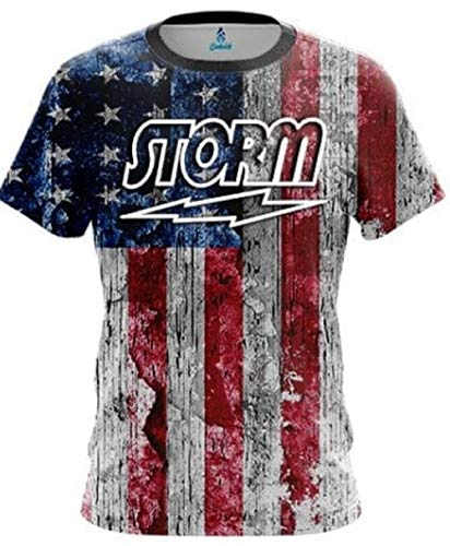 CoolWick Storm Rustic USA Flag Bowling Jersey (XL)
