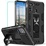 Suordii for Galaxy A11 Case with Tempered Glass Screen Protector [ Military Grade ] Built-in Kickstand Magnetic Support for Samsung Galaxy A11 (Black)
