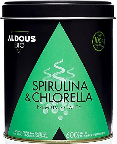 Chlorelle et Spiruline Bio Premium pendant 6 mois   600 comprimés de 500mg   végétalien - rassasiant - DETOX - protéine végétalienne - sans additifs   Certification écologique officielle
