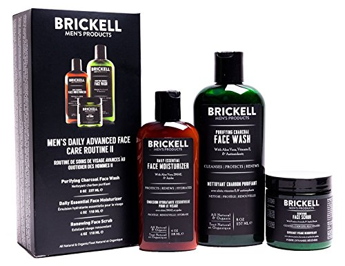 Brickell Men's Daily Advanced Face Care Routine II - Activated Charcoal Facial Cleanser + Face Scrub + Face Moisturizer Lotion - Natural & Organic (Unscented)