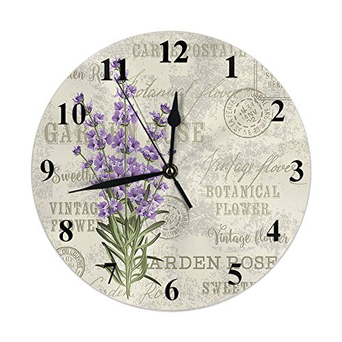 Moslion Lavender Clock Violet Floral Leaves on Vintage Postcard Garden Flower Stamp Round Wall Clock Silent Non Ticking Rustic Home Decor 10 Inch for Kitchen Bathroom Office Purple Beige