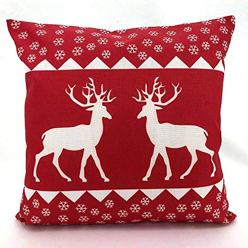 Adams Linens 100% Cotton Printed Christmas Festive XMAS Design Cushion Cover (Deer Red, 18 x 18)