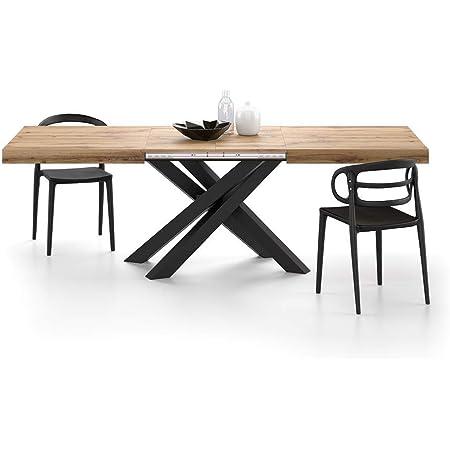 Mobili Fiver, Table Extensible Emma avec Pieds Noirs croisés 160, Bois Rustique, Mélaminé/Fer, Made in Italy