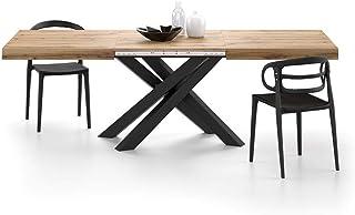 Mobili Fiver, Table Extensible Emma avec Pieds Noirs croisés, Bois Rustique, Mélaminé/Fer, Made in Italy