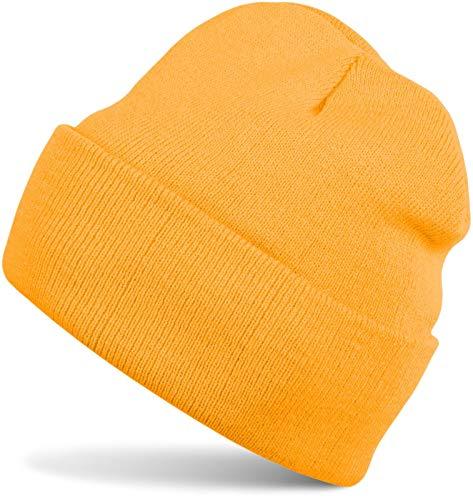 styleBREAKER Klassische Beanie Strickmütze für Kinder, Feinstrick Mütze doppelt gestrickt, Kindermütze 04024030, Farbe:Goldgelb