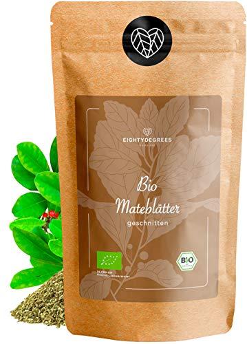 BIO Mate Tee - grüne Yerba Mateblätter - ungerösteter koffeinhaltiger Tee - geschnitten, naturbelassen - Premium Bio-Qualität - geprüft und abgefüllt in Deutschland (DE-ÖKO-39) | 80DEGREES (500g)