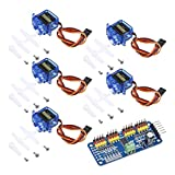ALAMSCN 5PCS SG90 9g Servo Motor + 16 Channel PWM Servo Motor Driver PCA9685 IIC Module 12-Bit DIY Kit for RC Robot Arm Helicopter Airplane Car Boat Remote Control for Arduino for Raspberry pi