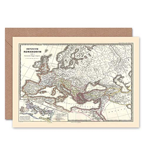 Wee Blue Coo 1865 SPRUNER MAP DE ROMAN EMPIRE ONDER CONSTANTINE GREETINGS CARD
