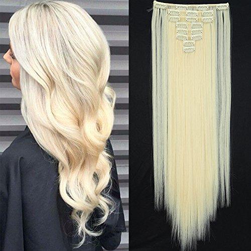 TESS Clip in Extensions wie Echthaar Kunsthaar Haarteil günstig 8 Tressen 18 Clips Haarverlängerung Glatt Weißblond 26
