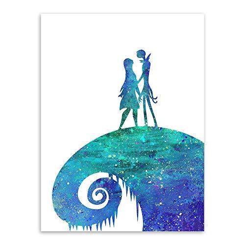 mmzki Tableau Street Art Chirstmas Eve Aquarelle Peinture Cauchemar Avant Noël Amour Jardin Décoration Mur Photos pour Salon Toile Art 40X60 cm sans Cadre