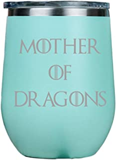 IT'S A SKIN Stemless Wine Tumbler | Stainless Steel with Clear lid 12oz | Red or White Wine | Great Gift for Her, Him Travel Includes Free Wine/Food Pairing Card | Mother of Dragons - Teal