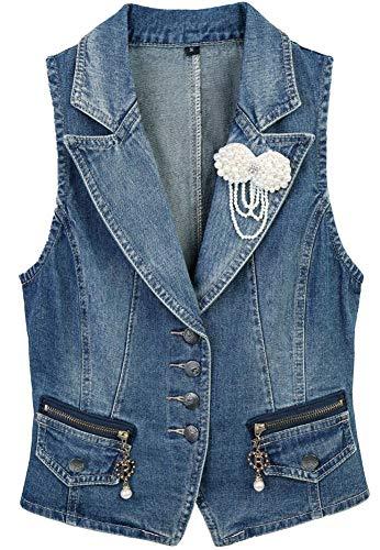 Abrigo 2020 Chaqueta De Mujer Chaleco Sin Chaqueta Modernas Casual Mangas Chaleco De Mezclilla Casual Simple con Perlas Abrigo De Transición De Ramillete