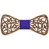 BOBIJOO Jewelry - Noeud Papillon Bois Teck Dentelle Arabesque Fait Main Artisan Réglable au Choix - Ajustable, N02