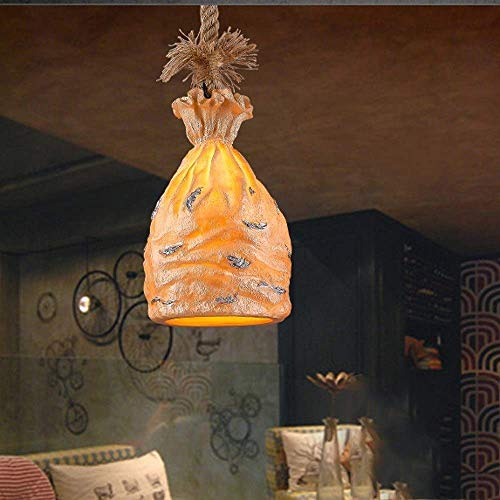 Retro industriële hars zak kroonluchter Europese antiek restaurant hangende hanglamp E27 henneptouw summing plafondlamp bar cafe lounge kledingwinkel decoratieve