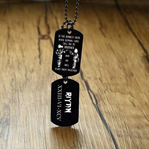 Ahuyongqing Co.,ltd Collar Dogtag Collar para Hombres Vegeta y Son Goku en tu Hora más Oscura Dragon Ball Colgante Personalizado de coordenadas