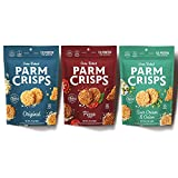 Contains 3 - 1.75 Ounce Bags of ParmCrisps Variety Pack (1 each of Original Parmesan, Pizza, and Sour Cream & Onion) ParmCrisps are artisan-crafted, crunchy crisps made of 100% Aged Parmesan cheese and premium seasonings. Oven-baked in small batches,...
