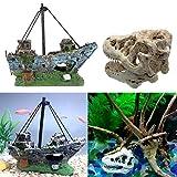 Juxing Calavera de Dinosaurio para Decorar Acuario, Barco Acuario, Barco Corsair Barco a Vela hundido para decoración de acuarios, con Agujeros Accesorios de Pescado escondite Cueva escondite