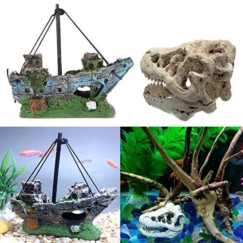 Juxing Harz Angeln Schiff Aquarium Dekor für Aquarium, Aqua Ornaments, Aquarium Deko Harz dinosaurierschädel, Schiffswrack aus Harz, Corsair Schiff Versunkene Boot Segelschiff