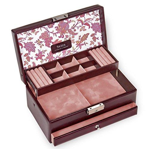 SACHER Schmuckkoffer Helen/florage/Bordeaux/Handmade in Germany/Schmuckaufbewahrung