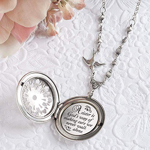 'A sister is God's way of making sure we never walk alone.' Sister Gift Sister Necklace and Silver Locket