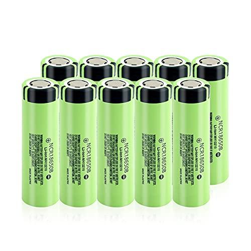 RitzyRose Batería de iones de litio de 3,7 V 3400 mAh NCR 18650B, batería recargable para linterna del micrófono 10 unidades
