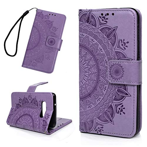 Galaxy S10E Case, Mavis's Diary Fashion Premium PU Leather Wallet Embossed Totem Flower Flip Folio Case & Card Holders Cash Slots Magnetic Clasp with Soft TPU Inner Cover - Light Purple