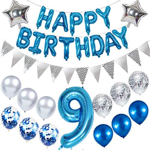 Ouceanwin Decoración de cumpleaños para niños, globos gigantes con el número 9, globos de papel de aluminio, pancartas Happy Birthday, banderines plateados, decoración de cumpleaños para niños