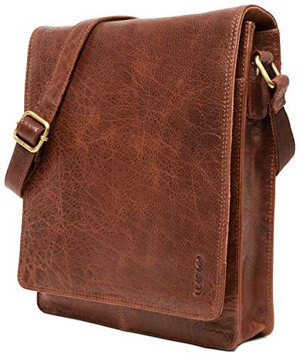 LEABAGS London Umhängetasche Schultertasche für 13 Zoll Tablets aus echtem Leder im Vintage Look, (LxBxH) ca. 26 x 8 x 31 cm - Rosso