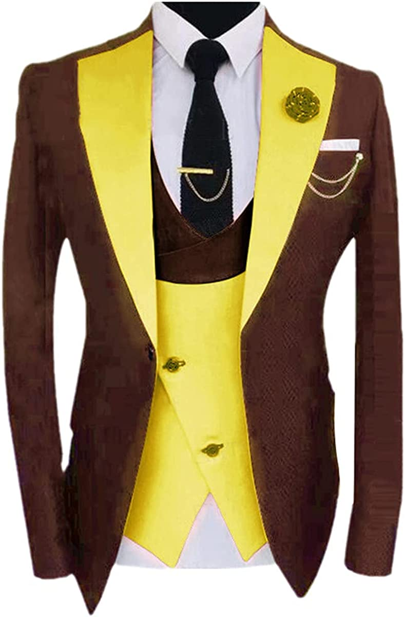 Formal Brown Men's Business Suit 3 Piece Set Custom Slim Version Groom Wedding Suit Evening Dress Tuxedo