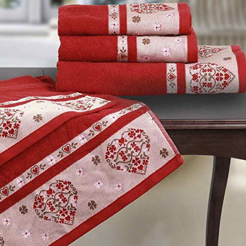 MARTICA Set Asciugamani Da Bagno Natalizi Di Colore Rosso Con Balza Cuore