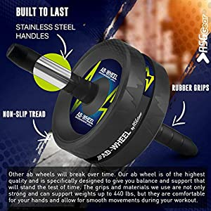 Ab Wheel Roller for Men & Women | Durable Ab Wheel Workout Equipment for Core Workout | Abdominal Muscle Toner | 5-Weeks Training Program | Stainless Steel & High Grade Polymer Build | Holds 440 LBS