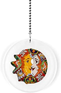 Mexican Talavera Kissing Sun and Moon Fan/Light Pull