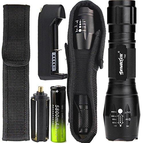LED Taschenlampe 4000 Lumens, 5 Modi Zoombar Taschenlampe mit 18650 Akku+Ladegerät+Halfter By Huichang - Mit variablem Fokus und wasserdichter Leistung - Sky Wolf Eye