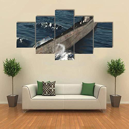 JJJKK Cuadro sobre Lienzo - 5 Piezas - Cuadro en Lienzo 5 Piezas - u Submarino alemán de la Segunda Guerra Mundial - Listo para Colgar - Obra De Arte Cartel - en un Marco