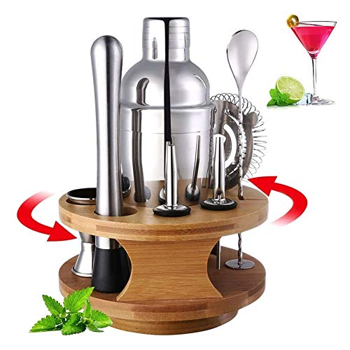 WANGIRL Cocktail 10 PCS Cocktail Shaker Set 750ml with Rotatable Bamboo Base Bartending Kit Stainless Steel Cocktail Bar Tools Home Bar Accessories Drink Mixer Cocktail Maker Gift Set Kit