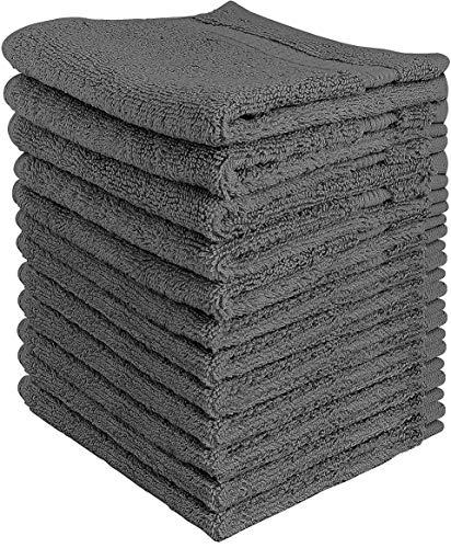 Utopia Towels - Juego de Toallas Premium (30 x 30 cm, Gris) 600 gsm 100% algodón para la Cara, Toallas Altamente absorbentes y de Tacto Suave para la Punta de los Dedos (Paquete de 12)