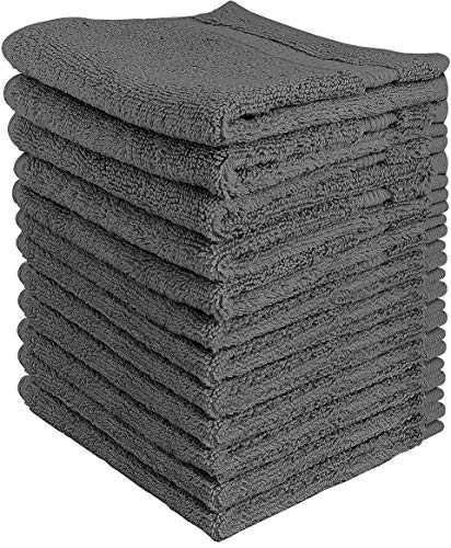Utopia Towels Premium Washcloth Set (12 x 12 Inches, Grey) 600 GSM 100% Cotton Face Cloths, Highly Absorbent and Soft Feel Fingertip Towels (12-Pack)